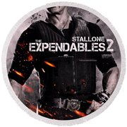 The Expendables 2 Stallone Round Beach Towel
