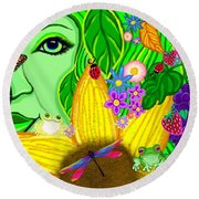 The Eye Of Mother Nature Round Beach Towel