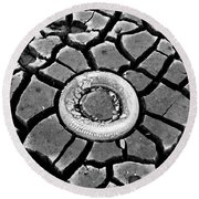 The Eye Of The Lake Black And White Round Beach Towel