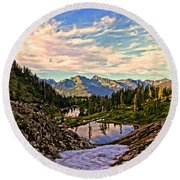 The Eyes Of The Mountain. Round Beach Towel