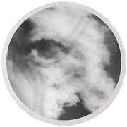 The Face In The Clouds Round Beach Towel