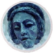 The Face Of Blue Round Beach Towel