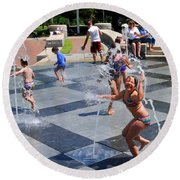 Joyful Young Girl Playing In Fountain Round Beach Towel