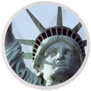 The Face Of Liberty  Round Beach Towel
