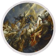 The Fall Of Phaeton Round Beach Towel by  Peter Paul Rubens