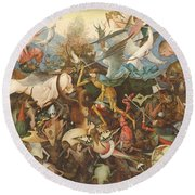 The Fall Of The Rebel Angels, 1562 Oil On Panel Round Beach Towel