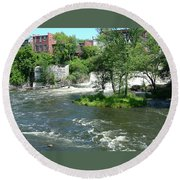 The Falls In Middlebury Round Beach Towel