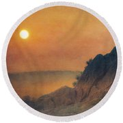 The False Lovers' Rock At Sunset Round Beach Towel