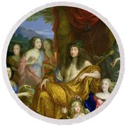 The Family Of Louis Xiv 1638-1715 1670 Oil On Canvas Detail Of 60094 Round Beach Towel