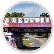 The Famous Graffiti Bridge Round Beach Towel