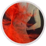 The Fan Dancer  Round Beach Towel