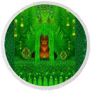 The Fantasy Girl In The Fauna  Round Beach Towel