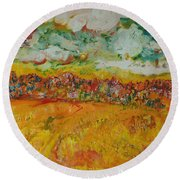 The Farmland Oil On Canvas Round Beach Towel