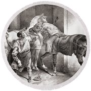 The Farrier, From Etudes De Cheveaux Round Beach Towel