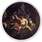 The Feast Of Bacchus, 1654 Round Beach Towel