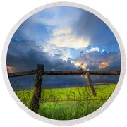 The Fence At Cades Cove Round Beach Towel