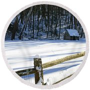The Fence Line Round Beach Towel