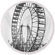 The Ferris Wheel At The Worlds Columbian Exposition Of 1893 In Chicago Bw Photo Round Beach Towel