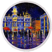The Festival Of Lights In Lyon France Round Beach Towel
