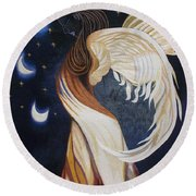 The Final Eclipse Before The Millenium Hand Embroidery  Round Beach Towel