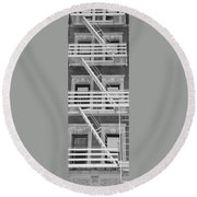 The Fire Escape In Black And White Round Beach Towel