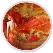 The Fire Within Round Beach Towel by Jacky Gerritsen