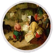 The First Break In The Family Round Beach Towel by Thomas Faed