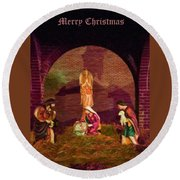 The First Christmas - Greeting Card Round Beach Towel