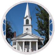 The First Church Of Evans In New York State Round Beach Towel
