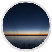 The First Light Of Dawn Round Beach Towel