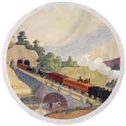 The First Paris To Rouen Railway, Copy Round Beach Towel by French School
