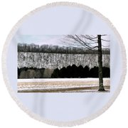 The First Snow New Hope Pa Round Beach Towel