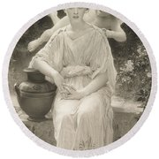 The First Whisper Of Love After Bouguereau Round Beach Towel