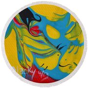 The Fish And The Bird Round Beach Towel