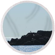 The Fisherman And The Edge Of The World Round Beach Towel