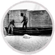The Fishermen And The Sea... Round Beach Towel