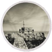 The Fishermen's Hut Round Beach Towel by Marco Oliveira