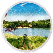The Fishing Hole Round Beach Towel