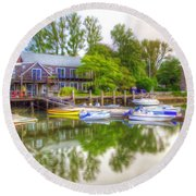 The Fishing Village Round Beach Towel