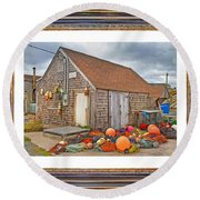 The Fishing Village Scene Round Beach Towel