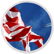 The Flag And The Blue Angels Round Beach Towel
