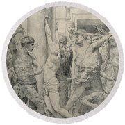 The Flagellation Of Christ Round Beach Towel by William Adolphe Bouguereau