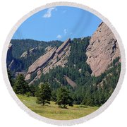 The Flatirons Round Beach Towel by Bob Hislop