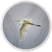 The Flight Of The Great Egret With The Stained Glass Look Round Beach Towel