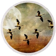 The Flight Of The Snow Geese Round Beach Towel by Lois Bryan