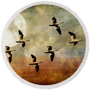 The Flight Of The Snow Geese Round Beach Towel