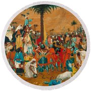 The Flight Out Of Egypt Round Beach Towel
