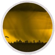 The Floating City  Round Beach Towel by Marvin Spates