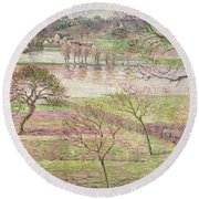 The Flood At Eragny Round Beach Towel