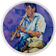 The Flute Player Round Beach Towel